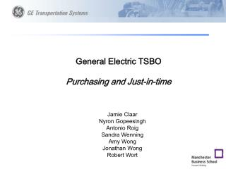 General Electric TSBO Purchasing and Just-in-time