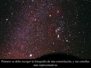 Primero se debe escoger la fotografía de una constelación, y sus estrellas más representativas