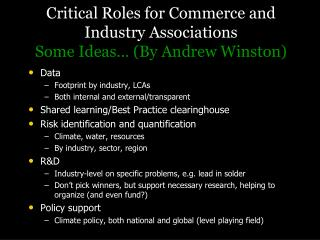 Critical Roles for Commerce and Industry Associations Some Ideas… (By Andrew Winston)