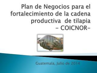 Plan de Negocios para el fortalecimiento de la  cadena productiva   de  tilapia - COICNOR-