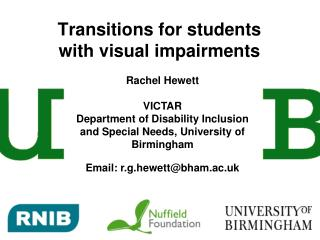 Transitions for students with visual impairments