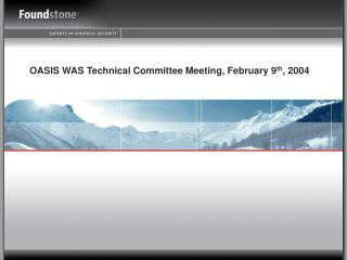 OASIS WAS Technical Committee Meeting, February 9 th , 2004
