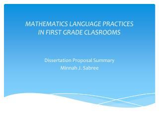 MATHEMATICS LANGUAGE PRACTICES  IN FIRST GRADE CLASROOMS