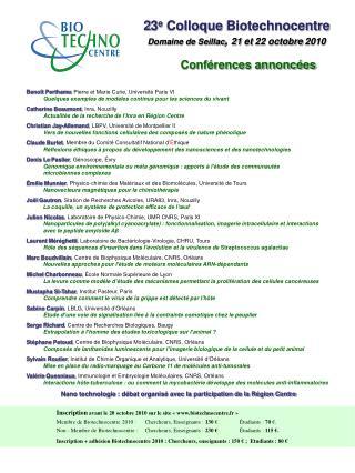 2 3 e  Colloque  Biotechnocentre Domaine de  Seillac ,  21 et 22 octobre 2010