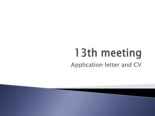 13th meeting
