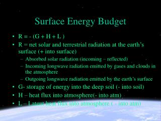 Surface Energy Budget