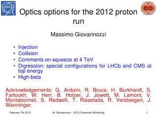 Optics options for the 2012 proton run