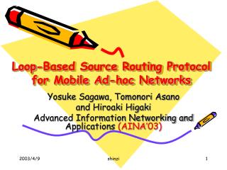 Loop-Based Source Routing Protocol for Mobile Ad-hoc Networks