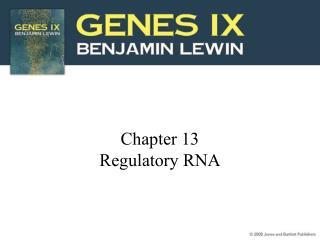 Chapter 13 Regulatory RNA