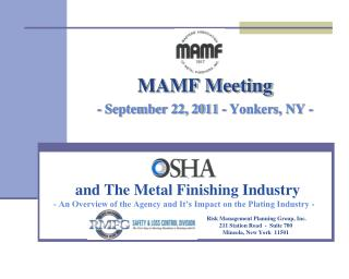 MAMF Meeting - September 22, 2011 - Yonkers, NY -