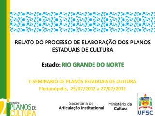 RELATO DO PROCESSO DE ELABORAÇÃO DOS PLANOS ESTADUAIS DE CULTURA Estado:  RIO GRANDE DO NORTE