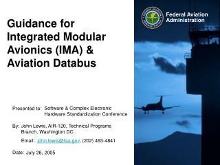 Guidance for Integrated Modular Avionics IMA  Aviation Databus