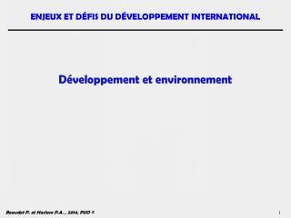 Développement et environnement