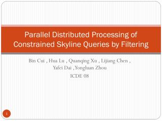 Parallel Distributed Processing of Constrained Skyline Queries by Filtering