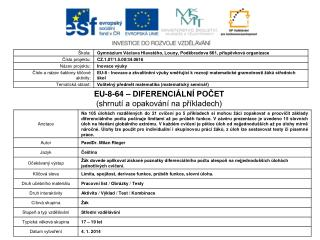 EU-8-64 – DIFERENCIÁLNÍ POČET (shrnutí a opakování na příkladech)