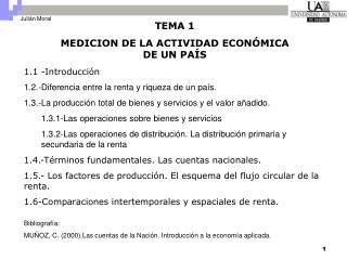TEMA 1 MEDICION DE LA ACTIVIDAD ECON�MICA DE UN PA�S