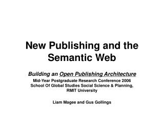 New Publishing and the Semantic Web