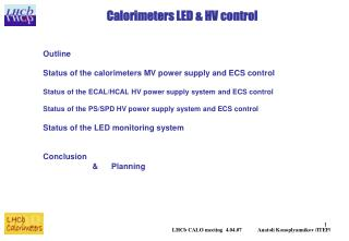 Calorimeters LED & HV control