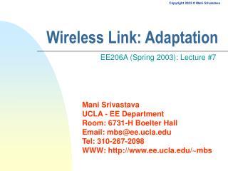 Wireless Link: Adaptation