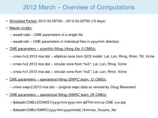 2012 March – Overview of Computations
