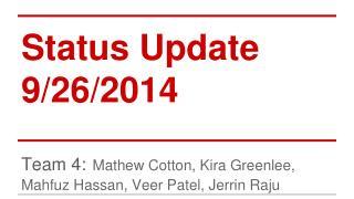 Status Update 9/26/2014
