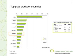 Top pulp producer countries
