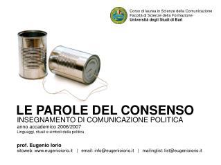 INSEGNAMENTO DI COMUNICAZIONE POLITICA anno accademico 2006/2007