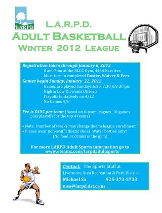 L.A.R.P.D. Adult Basketball Winter  2012  League