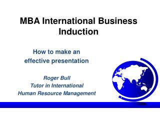 MBA International Business Induction