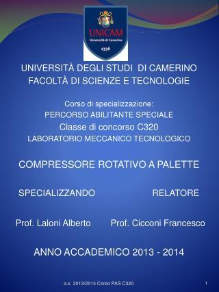 UNIVERSITÀ DEGLI STUDI  DI CAMERINO FACOLTÀ DI SCIENZE E TECNOLOGIE Corso di specializzazione:
