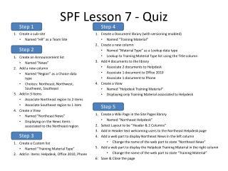 SPF Lesson 7 - Quiz