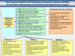 International P latform for Reducing Earthquake Disaster (IPRED)