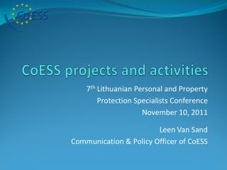 CoESS projects and activities