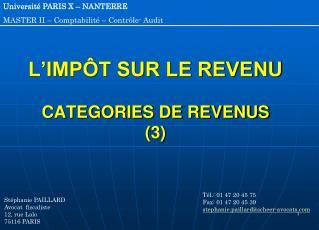L'IMPÔT SUR LE REVENU CATEGORIES DE REVENUS  (3)