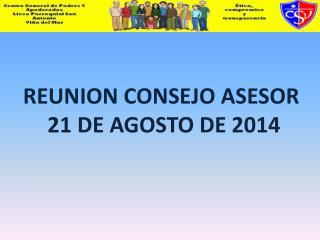 REUNION CONSEJO ASESOR  21 DE AGOSTO DE 2014