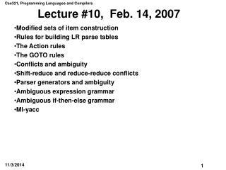 Lecture #10,  Feb. 14, 2007