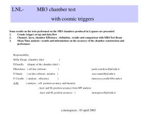LNL-          MB3 chamber test                               with cosmic triggers