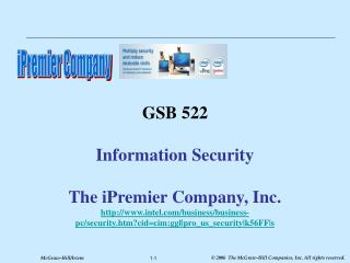 GSB 522  Information Security  The iPremier Company, Inc. intel