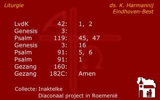 Liturgie ds. K. HarmannijEindhoven-Best