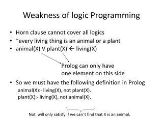 Weakness of logic Programming