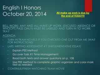 English I Honors October 20, 2014