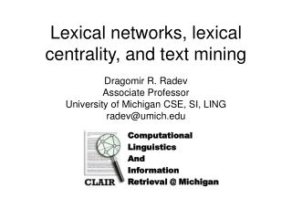 Lexical networks, lexical centrality, and text mining