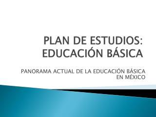 PLAN DE ESTUDIOS: EDUCACIÓN BÁSICA