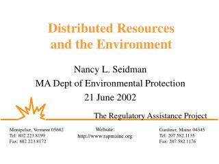 Distributed Resources  and the Environment