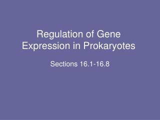 Regulation of Gene Expression in Prokaryotes