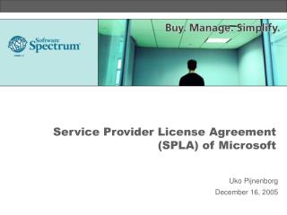Service Provider License Agreement (SPLA) of Microsoft