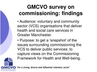 GMCVO survey on commissioning: findings