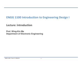 Lecture: Introduction Prof. Wing-Kin Ma Department of Electronic Engineering
