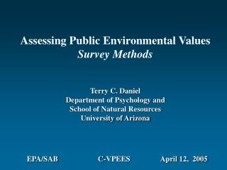 Assessing Public Environmental Values Survey Methods