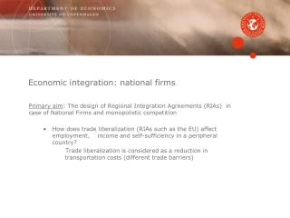 Economic integration: national firms